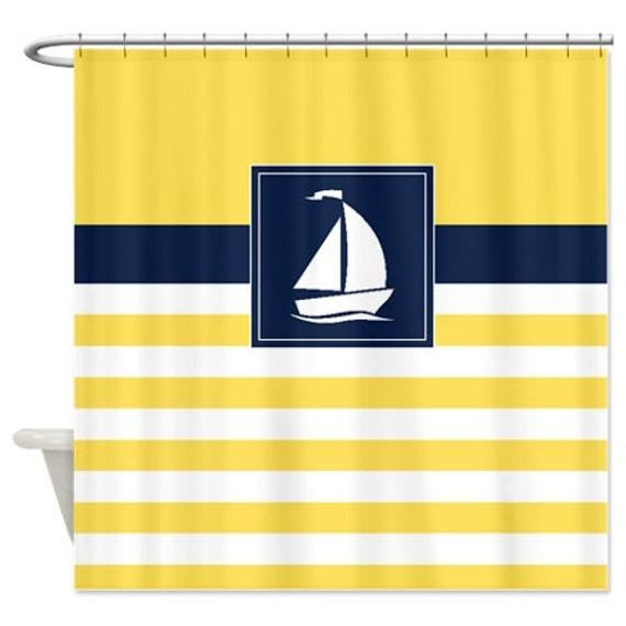 Nautical Shower Curtain Stripes Sailboat Curtains