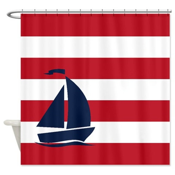 Nautical Shower Curtain Brick Red And White Stripes Navy Blue