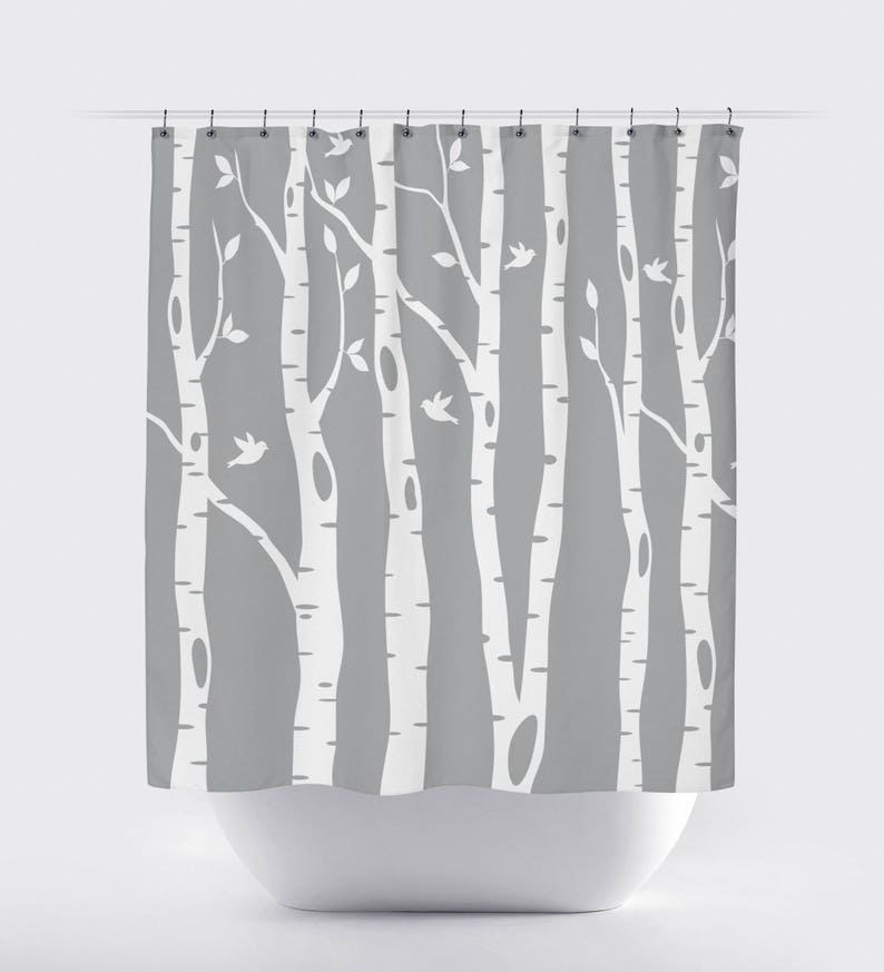 Birch Tree Shower Curtain With Birds Grey White OR ANY
