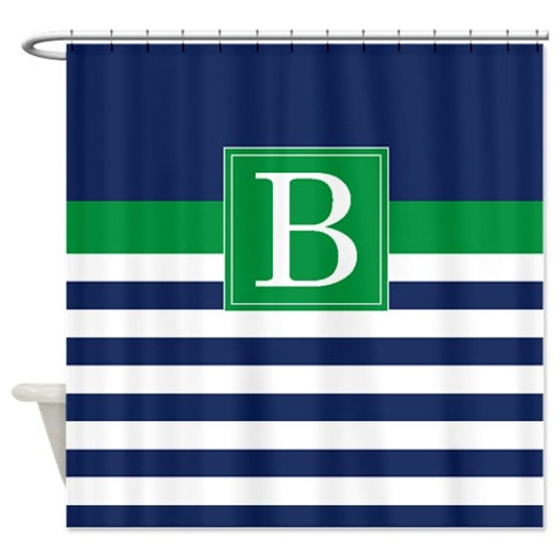 Custom Striped Shower Curtain Personalized W Monogram