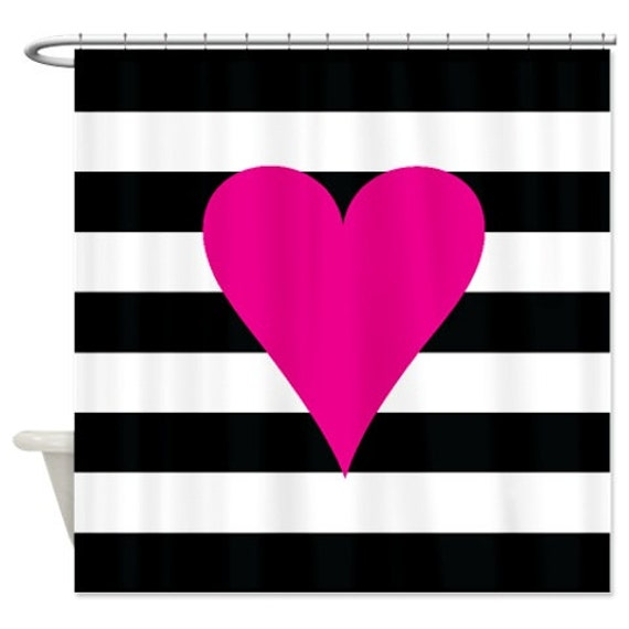 Heart Shower Curtain With Rugby Stripes Hot Pink Black And