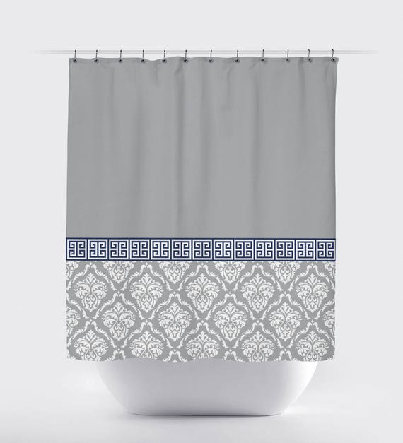 Damask And Greek Key Shower Curtain Hot Pink Navy Blue
