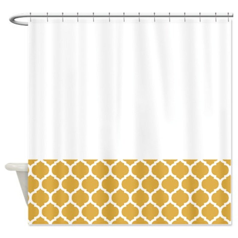 Quatrefoil Shower Curtain Honey Gold Mustard Yellow White Or Customize Colors Standard Extra Long Sizes Custom Moroccan Preppy Home Decor