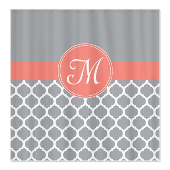 Monogrammed Shower Curtain Custom Quatrefoil