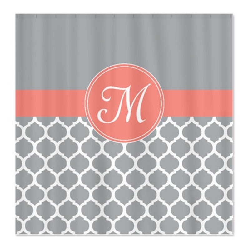 Monogrammed Shower Curtain Custom Quatrefoil