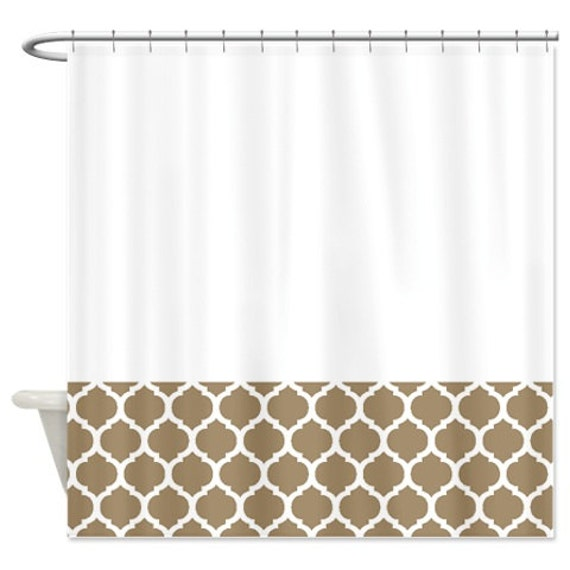 Quatrefoil Shower Curtain Tan And White Pattern Or Customize