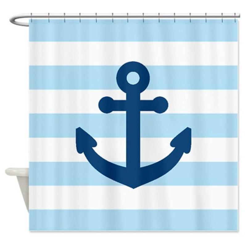 Nautical Shower Curtain Light Blue White Stripes Monaco