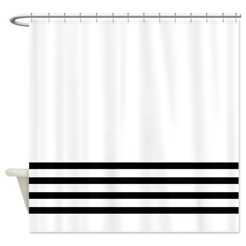 Striped Shower Curtain White With Black Stripes OR Customize
