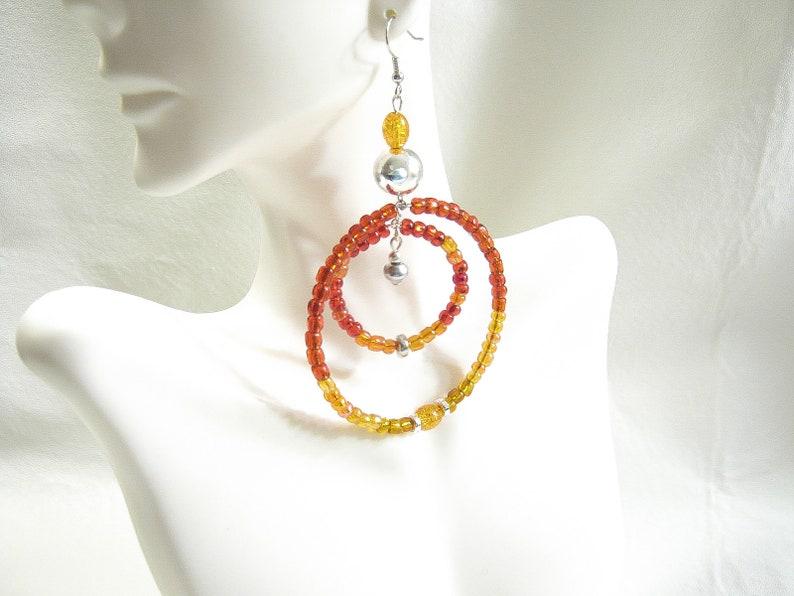 Red Czech Glass Vintage Beaded Big BOHO Hippie Style Hoop Earrings 3 long Pierced or Clip on