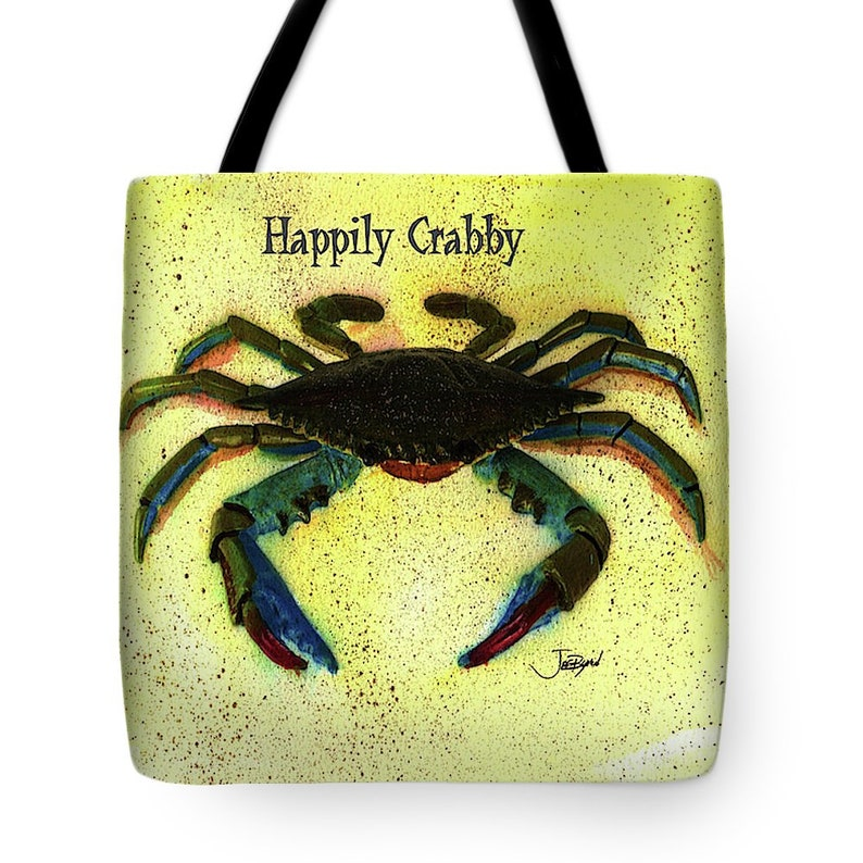 Tote bag with Happily Crabby on both sides with print of my original watercolor durable bags shoulder totes