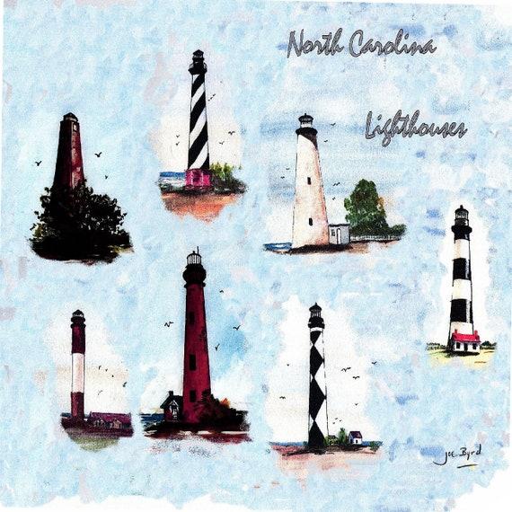 Lighthouse Coaster North Carolina Cape Hatteras Oak Island Etsy
