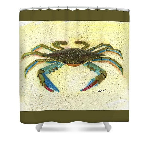 Crab Shower CurtainBath DecorBeach GiftsBeach House