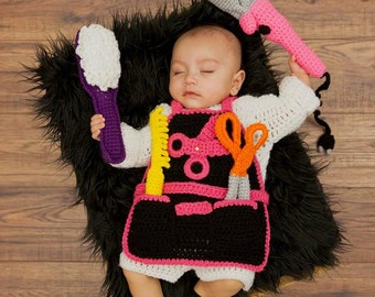 Crochet Baby Hair Stylist Apron/Photo Prop