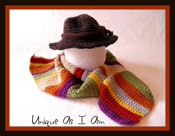 Crocheted Baby Doctor Tom Baker Scarf And Hatphoto Prop Etsy