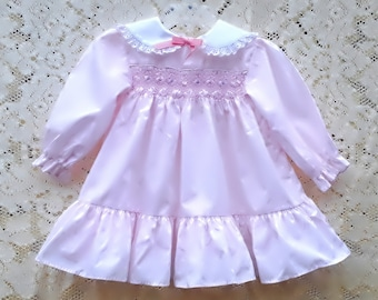 55386b0dd7c4 Baby Girl's Smocked Dress, 24 months, Polly Flinders, 80's