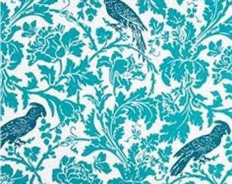 Barber True Turquoise Premier Prints Fabric - One Yard -  Turquoise and White Home Decor Fabric