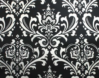 SALE - One and One Half Yard - Ozborne Ebony Indoor Outdoor Premier Prints Fabric - Black and Off White