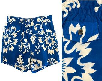 41ff17b36ec18 Vintage 1960s Blue Polynesian Bazaar Hawaiian Swim Trunks - Floral Tiki  Oasis