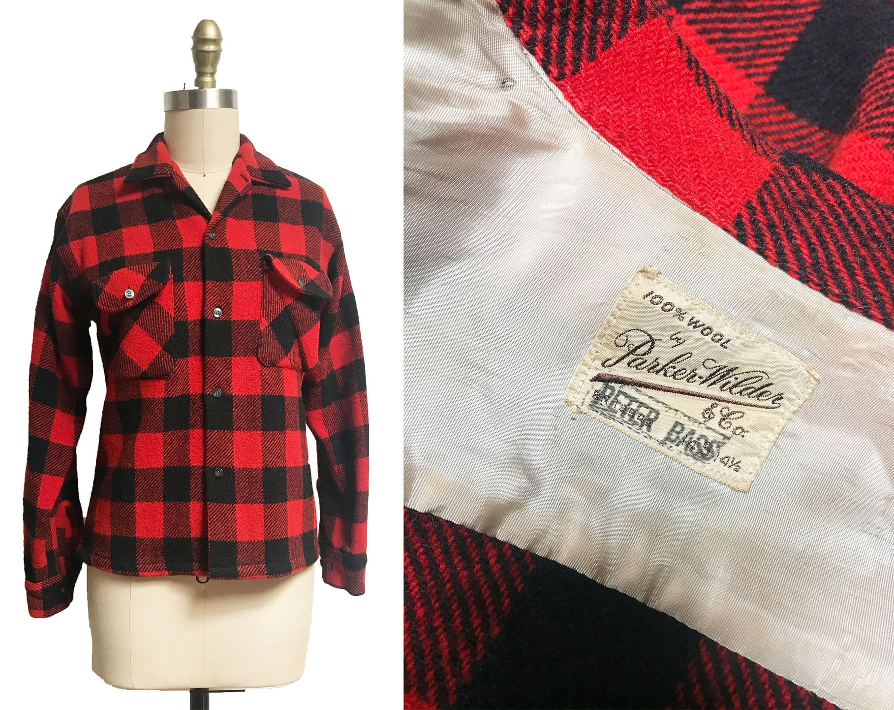 1950s Men's Ties, Bow Ties – Vintage, Skinny, Knit Vintage 1940S 1950S Plaid Button Up - Red Black Buffalo Mens Womens Shirt Small $65.00 AT vintagedancer.com