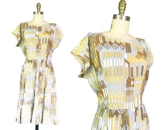 Vintage 1950s 1960s Dress - Geometric Brown Yellow