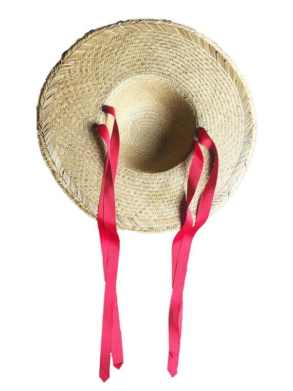 Vintage 1940s Straw Sun Hat - Red Ribbon Straps W… - image 4