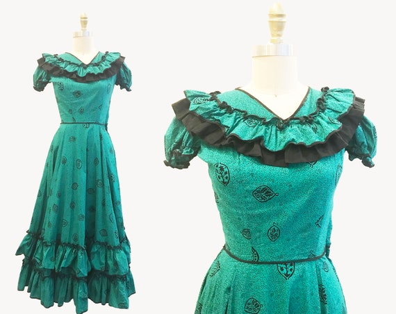 RARE Vintage 1930's 1940s Teal Black Dress Cotton