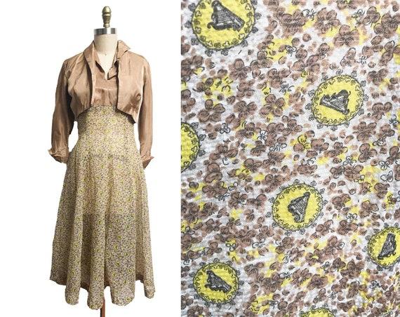 Vintage 1950s Novelty Print Dress- Yellow Gold Mat