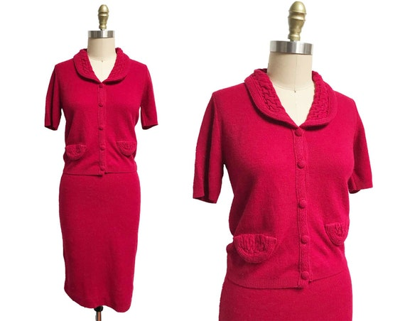 Vintage 1950s Red Sweater Knit Set - Matching Skir