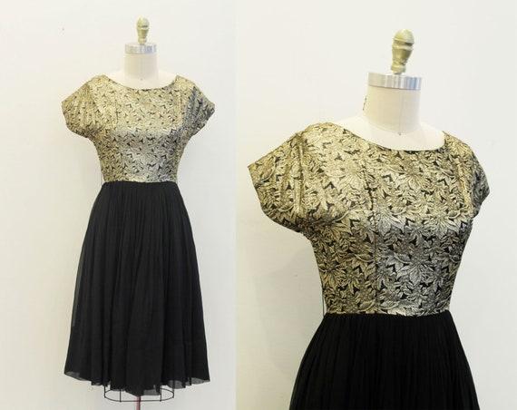 Vintage 1950s Gold Lurex Brocade Dress - Chiffon B