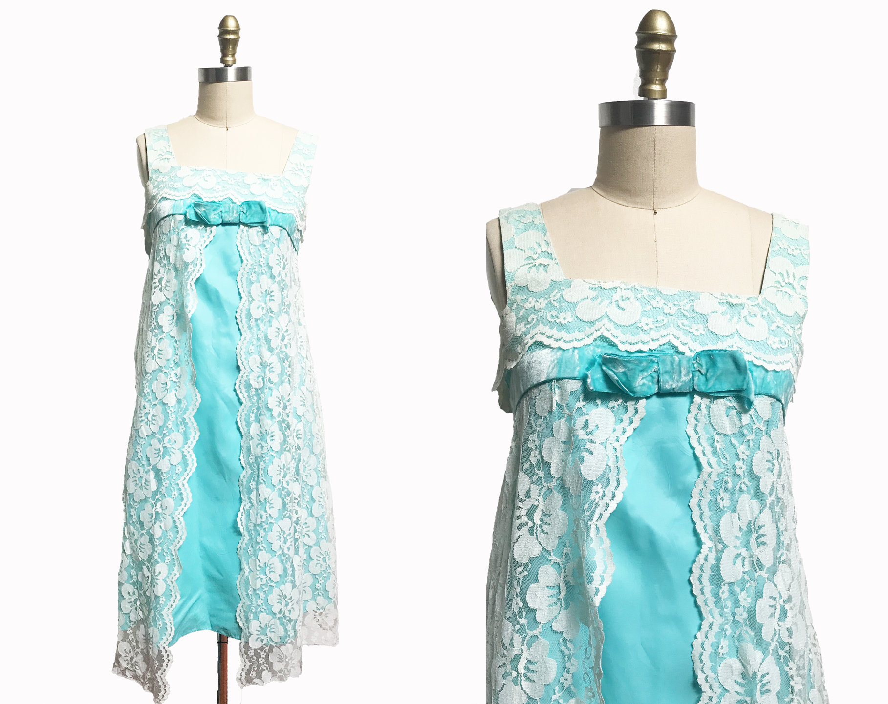 60s -70s Jewelry – Necklaces, Earrings, Rings, Bracelets Vintage 1960s Baby Blue Lace Mod Dress - Marvelous Mrs. Maisel Nightgown Party Cocktail Twiggy Medium $95.00 AT vintagedancer.com