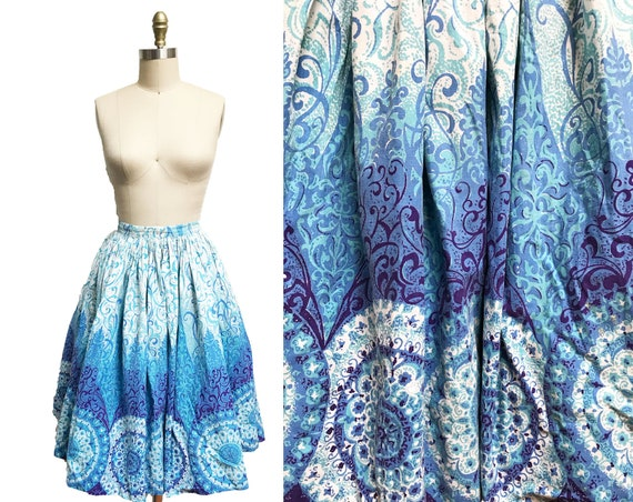 Vintage 1950s Novelty Skirt- Blue Pattern Swirl Ko