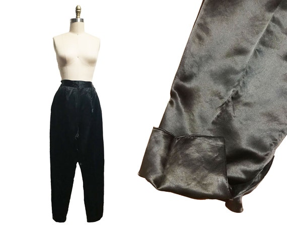 Vintage 1950s 1960s Black Satin Pants - Cigarette