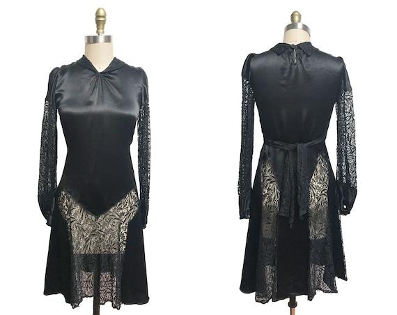 Vintage 1920s Dress- Black Lace Silk Satin Long Sl