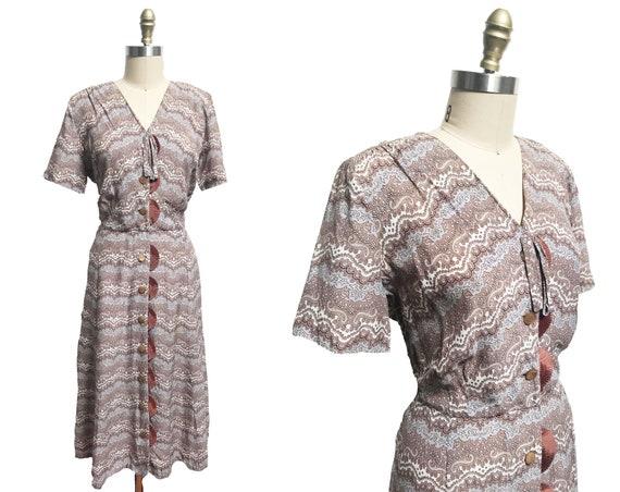 Vintage 1950s Paisley Dress VOLUP - Brown Shirt Bu