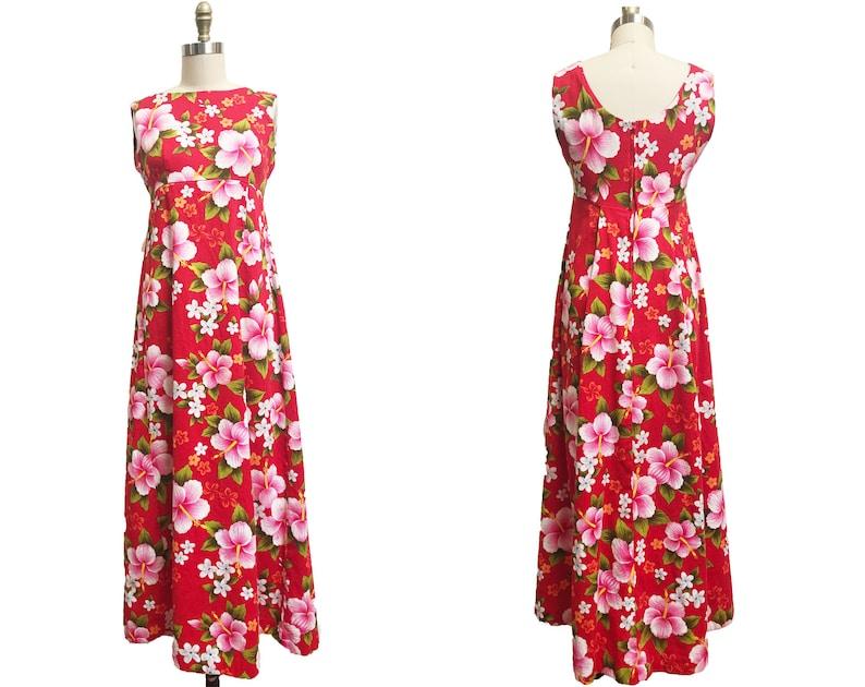 Vintage 1960's Red Hawaiian Maxi Dress With Tail Large Hibiscus Barkcloth Tiki Flowers Ui Maikai
