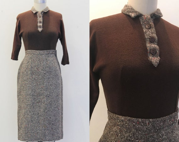 Vintage 1950's Set- Brown Sweater Tweed Skirt Matc