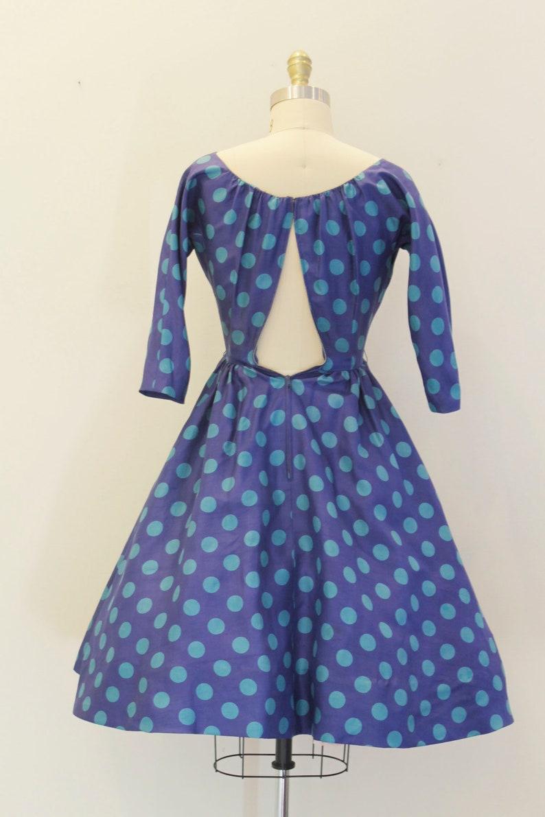 Vintage 1950 blau Polka Dot Kleid Petrol Kreis voller Rock ...