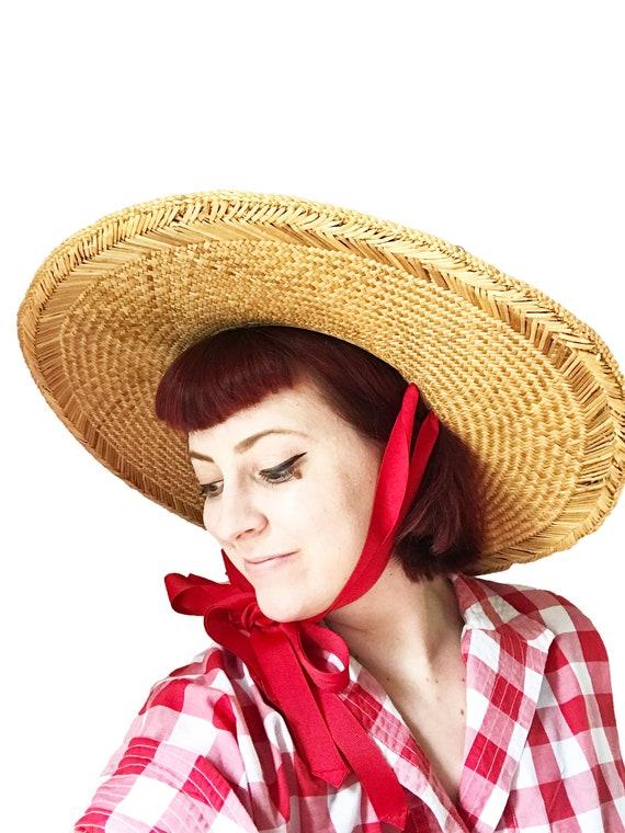 Vintage 1940s Straw Sun Hat - Red Ribbon Straps W… - image 2
