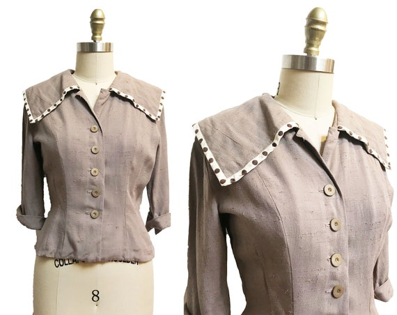1950s Brown Polka Dot Blouse - Button Front Large