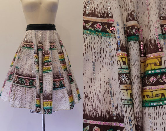 Vintage 1950's Hand Painted Mexican Circle Skirt-