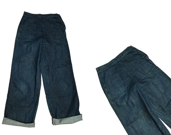 Vintage 1940s Inspired Denim Jeans - Freddies of P