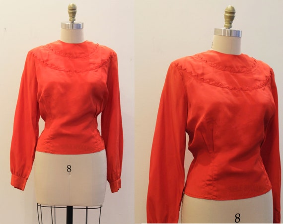 Vintage 1940's 1950's VOLUP Blouse- Red Long Sleev