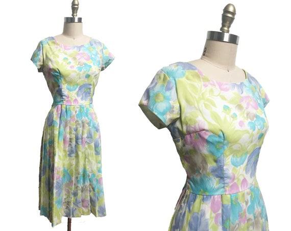 Vintage 1960s Dress - Pastel Green Blue Purple Flo