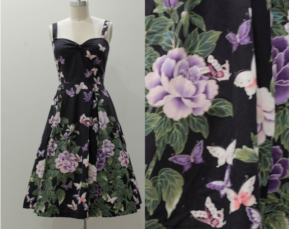 Vintage 1950's Inspired Dress-Flower Butterfly Sum