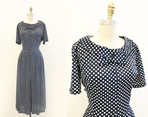 Vintage VOLUP 1950's Navy Polka Dot Dress- Neck Ti
