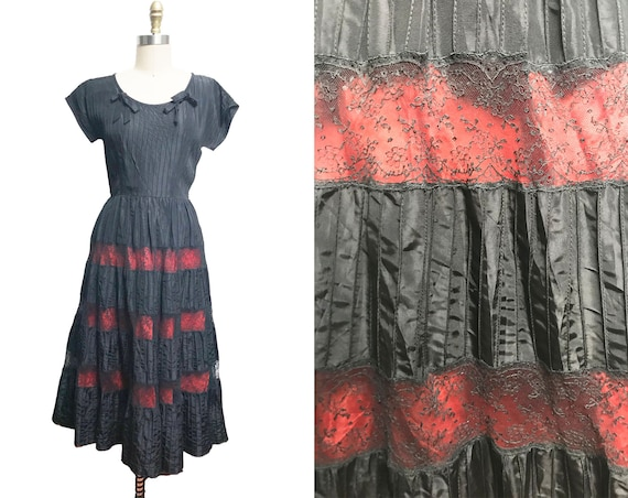 Vintage Black Red Lace Dress - Full Skirt Striped