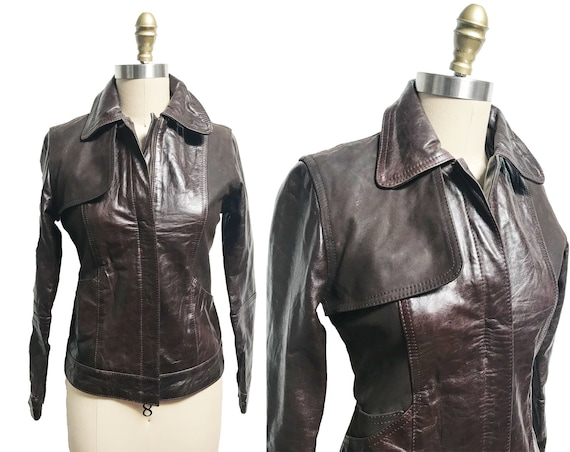 Vintage Levi Brown Leather Jacket - 1930s 1940s In
