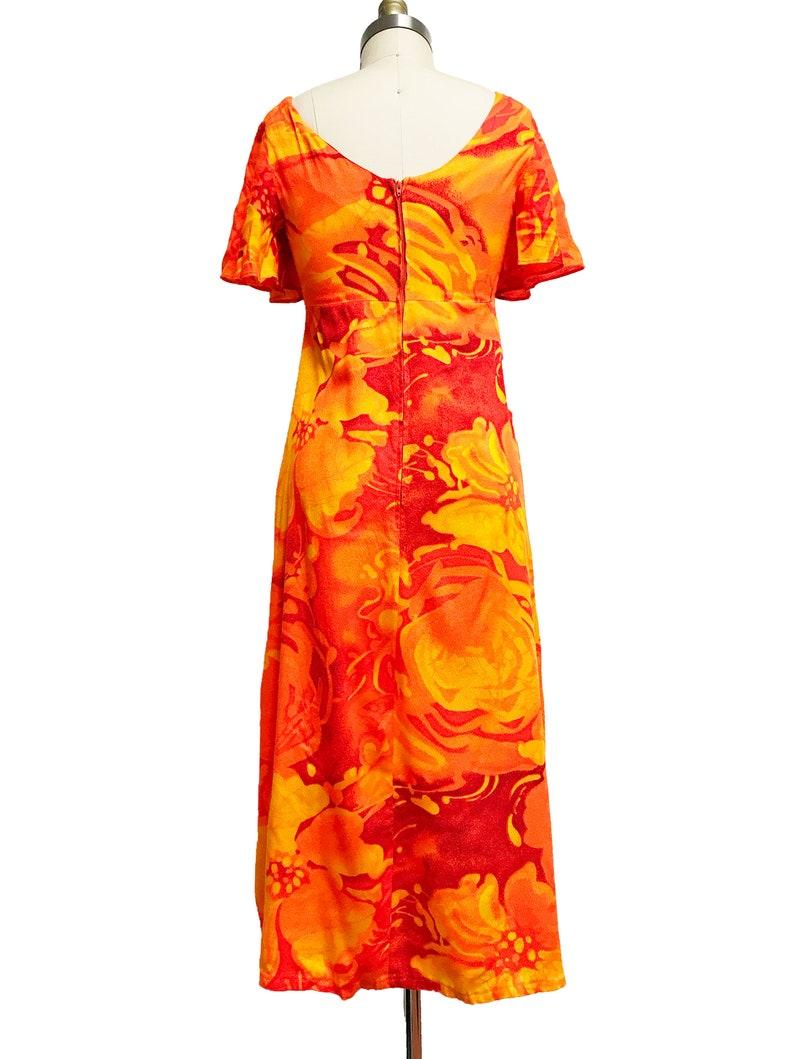Neon Orange Floral Fire Tiki Beautiful Waist-30 Vintage 1960s Hawaiian Barkcloth Dress