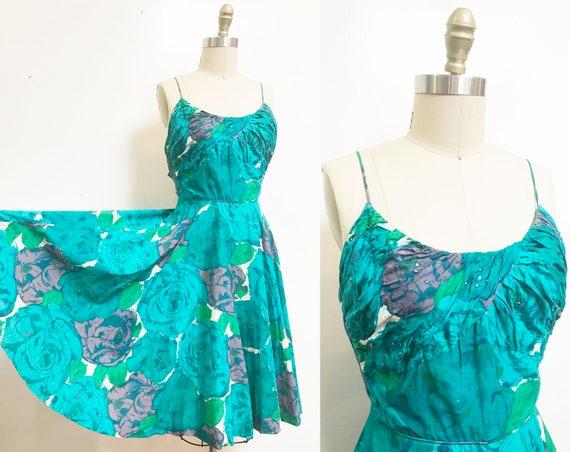 Vintage 1950's Blue Purple Rose Dress - Full Circl