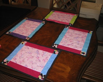Custom Quilted, Set of 4, Placemats, Unicorn Dance, handmade by Pegasusthreads.